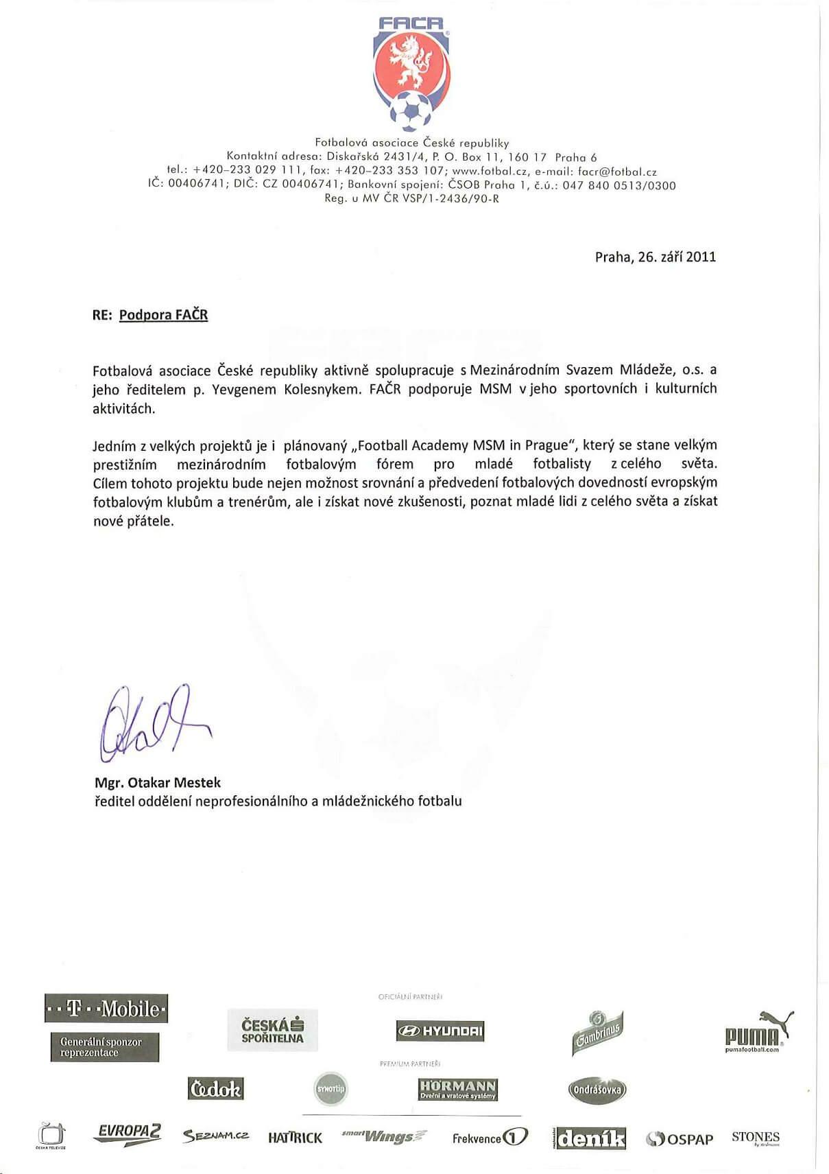 документ от футбольной ассоциаци праги msmstudy