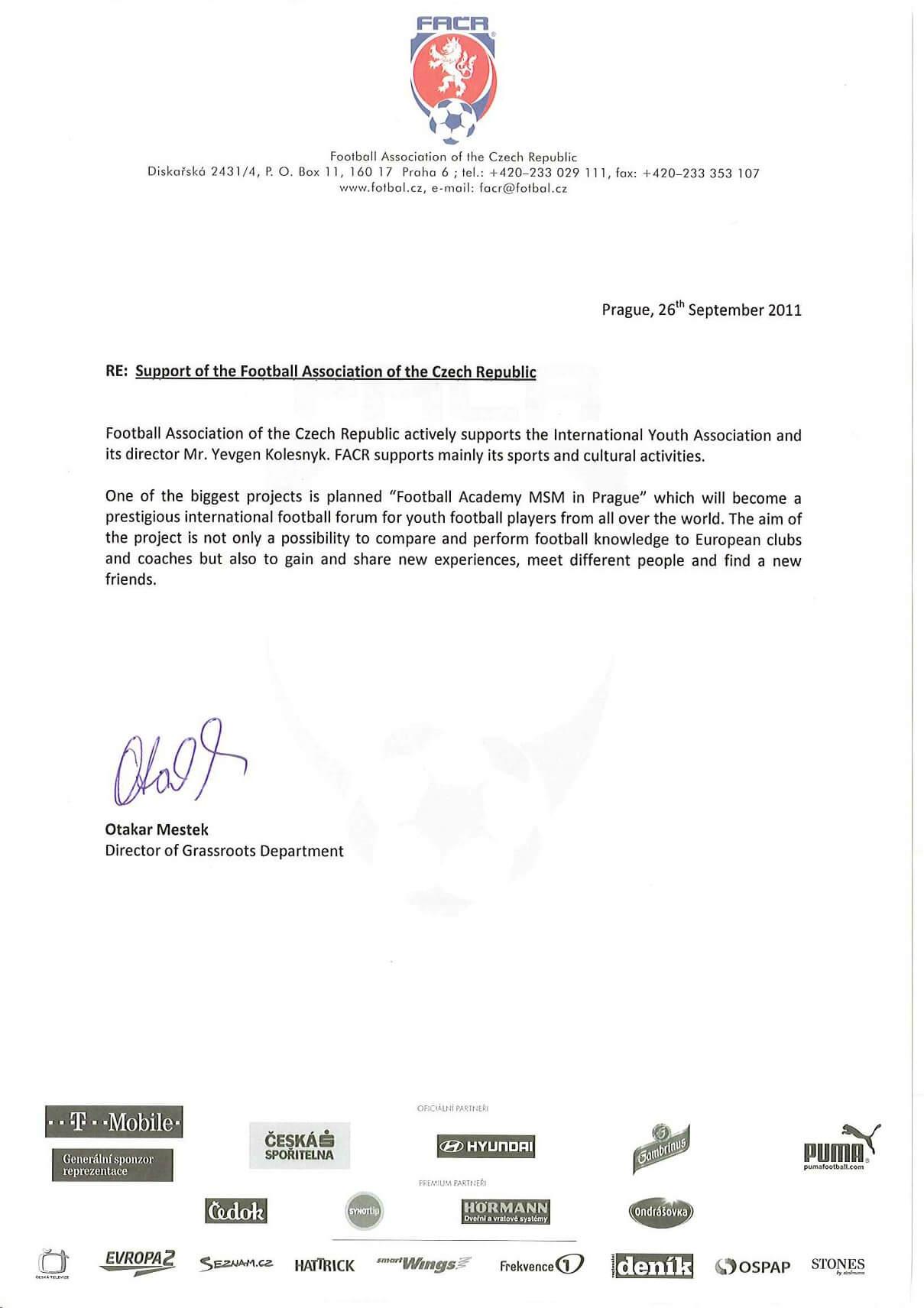 документ от футбольной ассоциации в Праге msmstudy