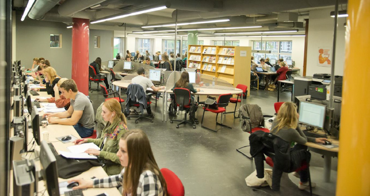 Студенты сидят в учебном перемещении msmstudy.com